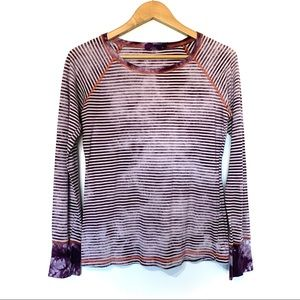 Prana striped long sleeve tie dye shirt t-shirt